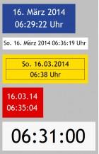 Beispiel-Darstellungen von Datum/Uhrzeit